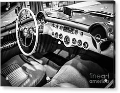 1954 Chevrolet Corvette Interior Black And White Picture Acrylic Print by Paul Velgos
