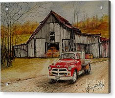 1954 Chevy Truck And Barn Acrylic Print by Jackie Bryant