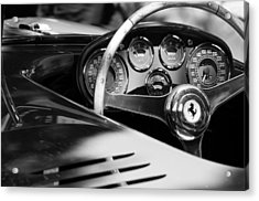 Acrylic Print featuring the photograph 1954 Ferrari 500 Mondial Spyder Steering Wheel Emblem by Jill Reger