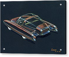 1954  Ford Cougar Experimental Car Concept Design Concept Sketch Acrylic Print