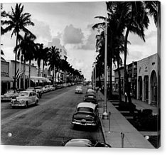 1954 Miami Beach Lincoln Road Acrylic Print by Retro Images Archive