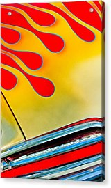 1954 Studebaker Champion Coupe Hot Rod Red With Flames - Grille Emblem Acrylic Print by Jill Reger
