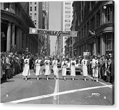 1954 World Series Champions Giants Parade Retro Cheerleaders Acrylic Print by Retro Images Archive