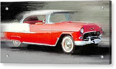 1955 Chevrolet Bel Air Coupe Watercolor Acrylic Print by Naxart Studio