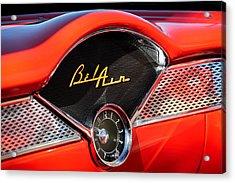 1955 Chevrolet Belair Dashboard Emblem Clock Acrylic Print by Jill Reger