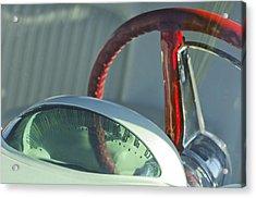1955 Ford Thunderbird Steering Wheel Acrylic Print by Jill Reger