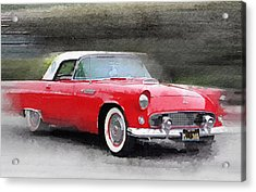 1955 Ford Thunderbird Watercolor Acrylic Print