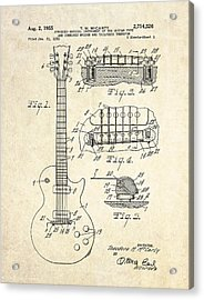 1955 Gibson Les Paul Patent Drawing Acrylic Print by Gary Bodnar