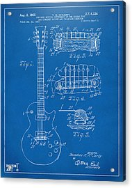 Acrylic Print featuring the digital art 1955 Mccarty Gibson Les Paul Guitar Patent Artwork Blueprint by Nikki Marie Smith