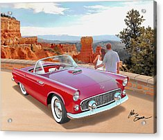 1955 Thunderbird At  Bryce Canyon  Classic Ford Art Sketch Rendering Art Sketch Rendering            Acrylic Print by John Samsen