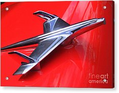 1956 Chevy Hood Ornament Acrylic Print by Mary Deal