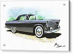 1956 Ford Thunderbird  Black  Classic Vintage Sports Car Art Sketch Rendering         Acrylic Print by John Samsen