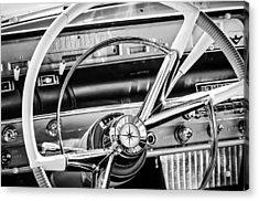 1956 Lincoln Premiere Steering Wheel -0838bw Acrylic Print