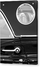 1957 Ford Thunderbird Window Black And White Acrylic Print by Jill Reger
