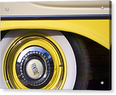 1957 Pontiac Starchief Wheel Cover Acrylic Print by Carol Leigh