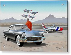 1957 Thunderbird  With F-84 Gunmetal Vintage Ford Classic Art Sketch Rendering           Acrylic Print by John Samsen
