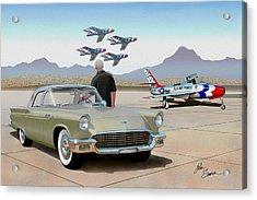 1957 Thunderbird  With F-84 Thunderbirds Inca Vintage Ford Classic Art Sketch Rendering            Acrylic Print