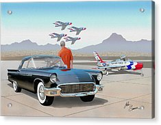 1957 Thunderbird  With F-84 Thunderbirds Vintage Ford Classic Car Art Sketch Rendering          Acrylic Print by John Samsen