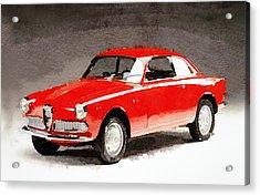 1958 Alfa Romeo Giulietta Sprint Watercolor Acrylic Print by Naxart Studio