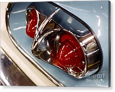 1958 Chevrolet Taillight In Baby Blue And Chrome Acrylic Print by The Harrington Collection