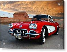 1958 Corvette Acrylic Print by Andrea Kelley
