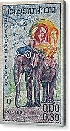1958 Laos Elephant Stamp Acrylic Print