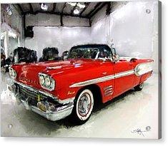1958 Pontiac Bonneville Convertible Acrylic Print by Robert Smith