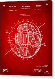 1958 Space Satellite Structure Patent Red Acrylic Print by Nikki Marie Smith
