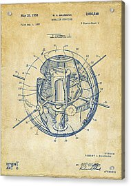 1958 Space Satellite Structure Patent Vintage Acrylic Print by Nikki Marie Smith