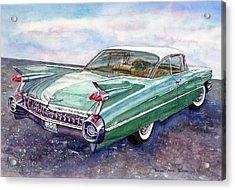 Acrylic Print featuring the painting 1959 Cadillac Cruising by Anna Ruzsan