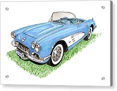 1959 Corvette Frost Blue Acrylic Print by Jack Pumphrey