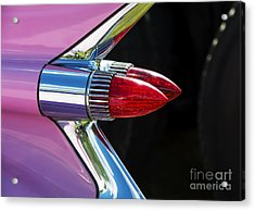 1959 Pink Cadillac Dual Bullet Tail Lights Acrylic Print by Tim Gainey