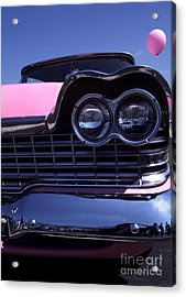 1959 Pink Plymouth Fury With Balloon Acrylic Print by Anna Lisa Yoder