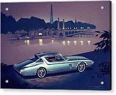 1960 Desoto  Vintage Styling Design Concept Painting Paris Acrylic Print by John Samsen