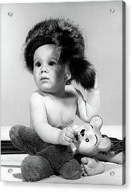 1960s Baby Wearing Coonskin Hat Acrylic Print