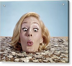 1960s Blond Woman Funny Facial Acrylic Print