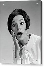 1960s Brunette Woman Mouth Agape Eyes Acrylic Print