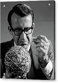 1960s Close-up Of Man In Suit & Glasses Acrylic Print