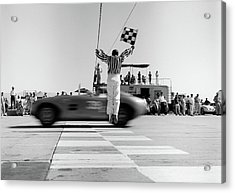 1960s Man Jumping Waving Checkered Flag Acrylic Print
