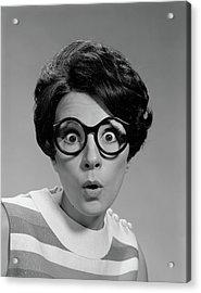 1960s Portrait Brunette Wearing Dark Acrylic Print