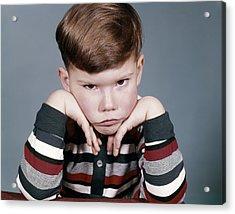 1960s Portrait Sad Angry Little Boy Acrylic Print