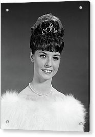 1960s Pretty Young Woman Wearing Tiara Acrylic Print