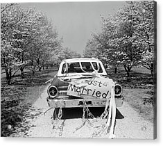 1960s Rear Of Car With Just Married Acrylic Print