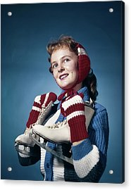 1960s Smiling Woman Wearing Red Mittens Acrylic Print