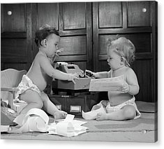 1960s Two Babies Wearing Diapers Acrylic Print