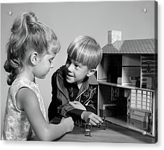 1960s Two Kids Playing With Toy Doll Acrylic Print