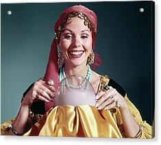 1960s Woman Portrait Character Crystal Acrylic Print