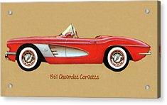 1961 Chevrolet Corvette Acrylic Print by Walter Colvin