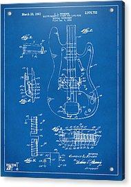 1961 Fender Guitar Patent Artwork - Blueprint Acrylic Print