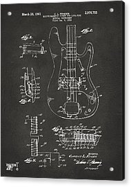 1961 Fender Guitar Patent Artwork - Gray Acrylic Print